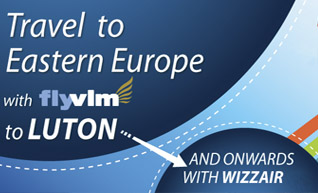 Travel to Eastern Europewith FlyVlm from Waterford To Luton and onwards with Wizzair