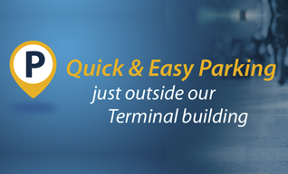 Quick & easy parking just outside the terminal building at Waterford Airport