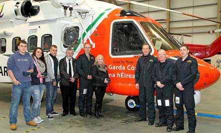 Pictured  at the Waterford Airport SAR Hangar are the crew of Rescue 117 with Irish Coastguard Operations Manager Declan Geoghegan and the winner and runner's up from the competition to name the new helicopter, James Doherty from Cheekpoint, Clara Hogan from Brownstown and Craig Hartnett and the overall winner Eilish Meade from Passage East, Pilots Danny Wright and Rob Goodbody, Winchman Richard Wallace and Winch Op Christy Mahady – photograph Noel Browne.