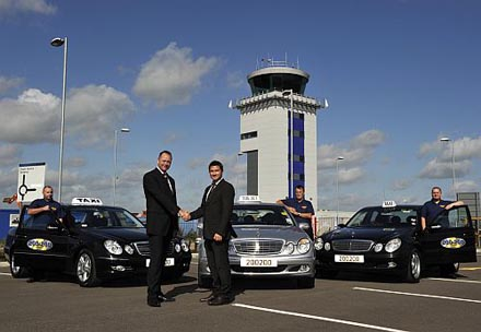 Pictured are John Watson (MD Andrews) and Jonathan Rayner (London Southend Airport) welcoming new taxi partnership